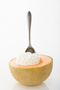 Half a cantaloupe with cottage cheese